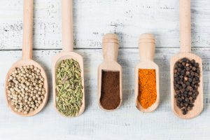 Spices and Legumes in Spoons